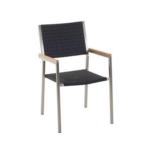 Krzesło ogrodowe z rattanu i stali szlachetnej GROSSETO (7081451893154)
