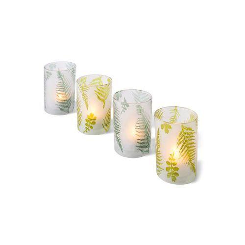 """Pojemniki na świece """"Liście"""" (4 części) bonprix jasnozielono-biały """"mrożony"""""""