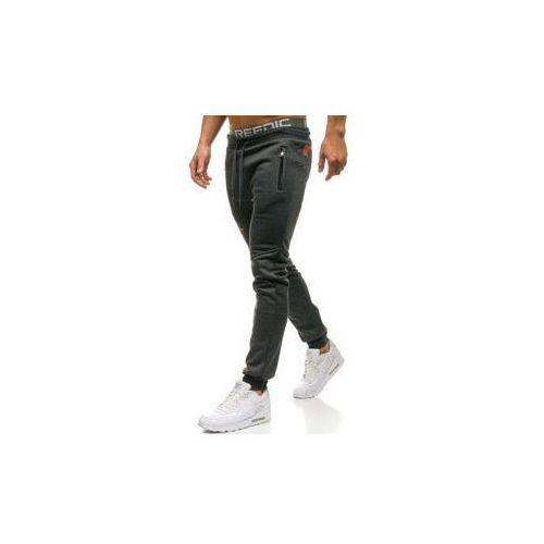 Spodnie męskie dresowe joggery grafitowe Denley W1625