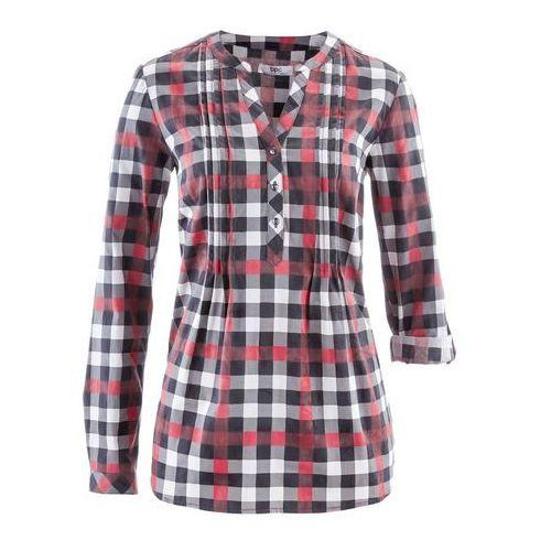 Tunika bluzkowa, długi rękaw bordowy w kratę marki Bonprix