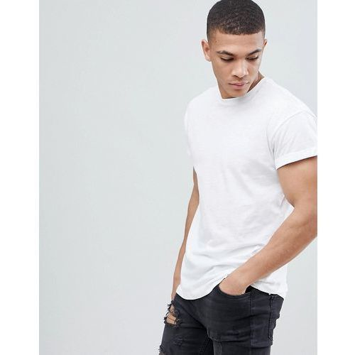 New look crew neck t-shirt with roll sleeve in white - white