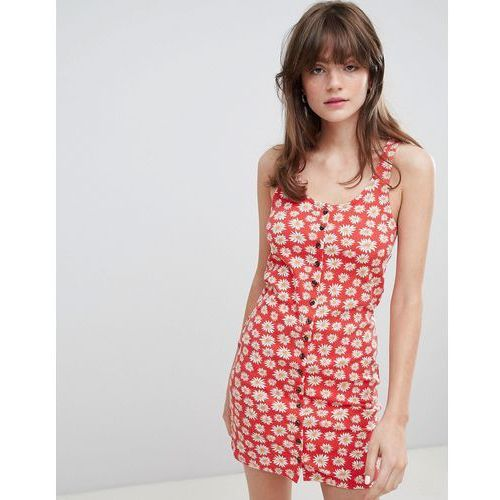floral print button front jersey mini dress - red marki Monki