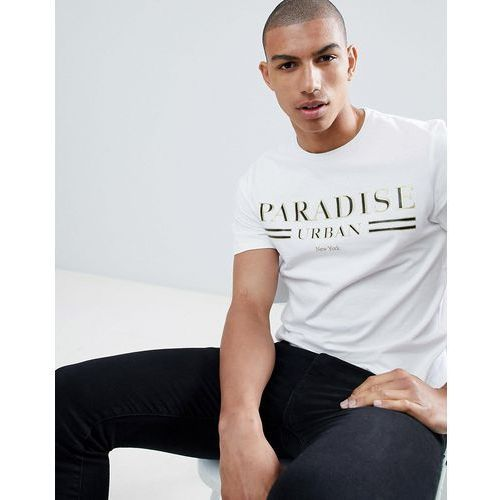River island muscle fit t-shirt with paradise print in white - white