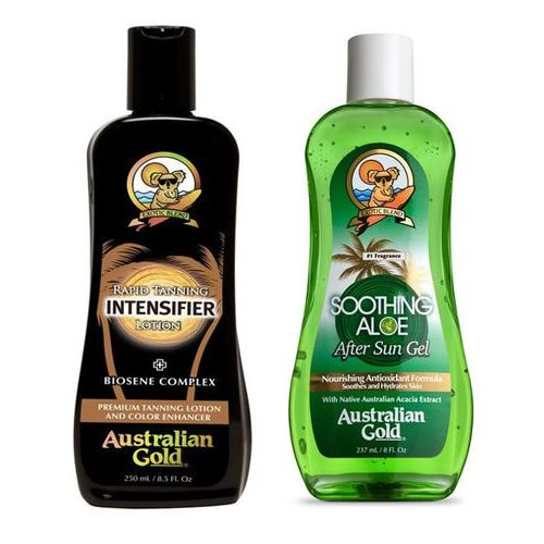 Australian gold rapid tanning intensifier and soothing aloe after sun | zestaw do opalania: mleczko do opalania 250ml + żel po opalaniu 237ml