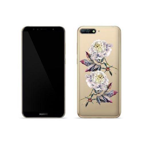 Huawei y6 (2018) - etui na telefon crystal design - białe piwonie marki Etuo crystal design