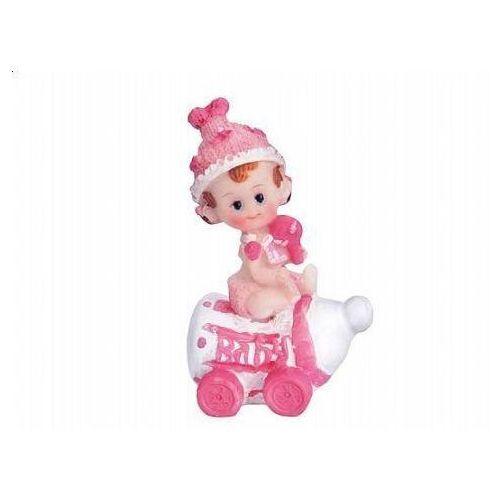 Party deco Figurka dziewczynka na butelce różowa - 6.5 cm (5901157439192)