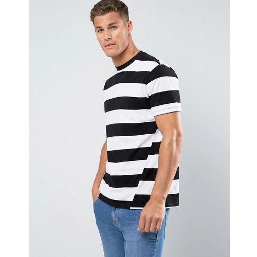 man block stripe t-shirt with twist feature in black and white - white marki Mango