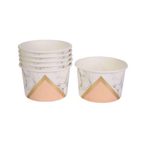 Pucharki kubeczki do lodów Marmur brzoskwiniowe - 8 szt.