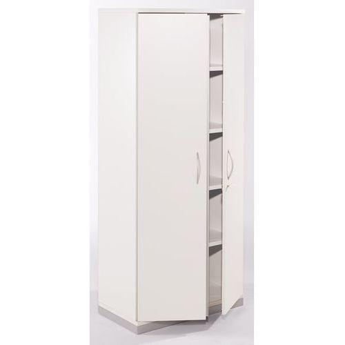 Fm büromöbel Thea - szafka z drzwiami skrzydłowymi, 4 półki, 5 wys. segregatora, stara biel.