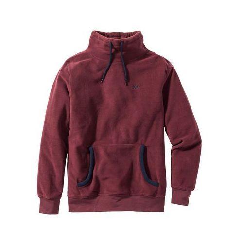 Bonprix Bluza z polaru z kapturem regular fit czerwony klonowy