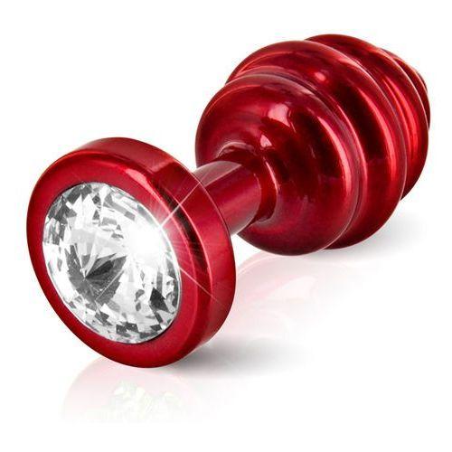 Prążkowany ozdobny plug analny - Diogol Ano Butt Plug Ribbed Red 35mm Czerwony