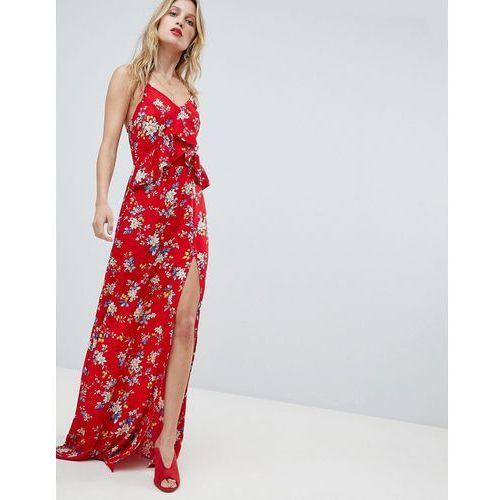 PrettyLittleThing Floral Side Split Maxi Dress - Red, kolor czerwony