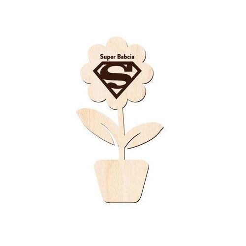"""Congee.pl Drewniany kwiatek z napisem """"super babcia"""" i znakiem supermana (5907509925597)"""