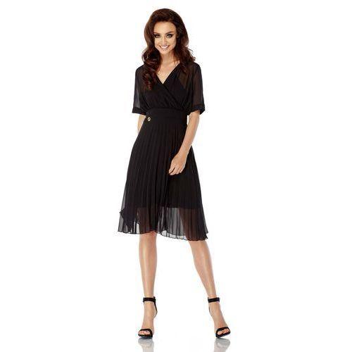 Czarna elegancka kopertowa sukienka z plisowanym dołem, Lemoniade, 36-42
