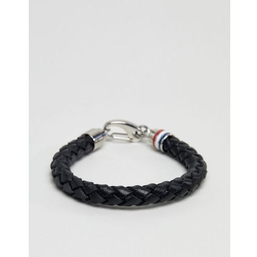 leather braided bracelet in black - black marki Tommy hilfiger