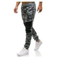 Spodnie męskie dresowe joggery moro-szare Denley QN274