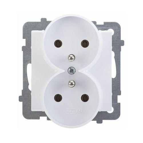 Gniazdo podwójne z/u IP20 16/250, biały GP-2RRZ/m/00 OSPEL SONATA (5907577444334)