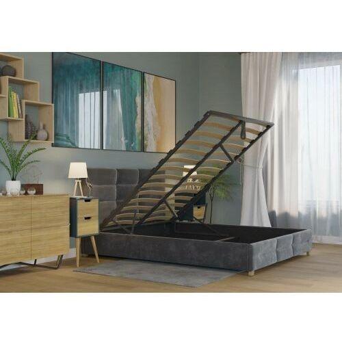 Big meble Łóżko 160x200 tapicerowane bergamo + pojemnik + materac welur ciemno szare