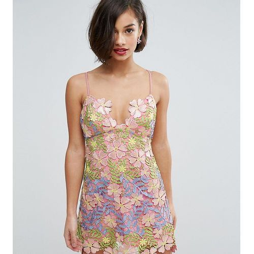 salon 3d applique super mini floral dress - multi marki Asos petite