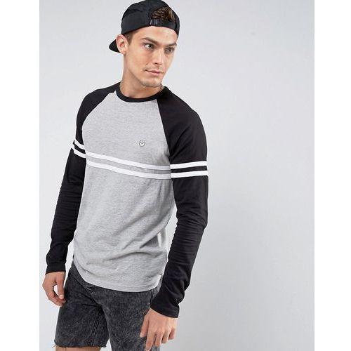 Le Breve Raglan Cut and Sew Long Sleeve Top - Grey, w 6 rozmiarach