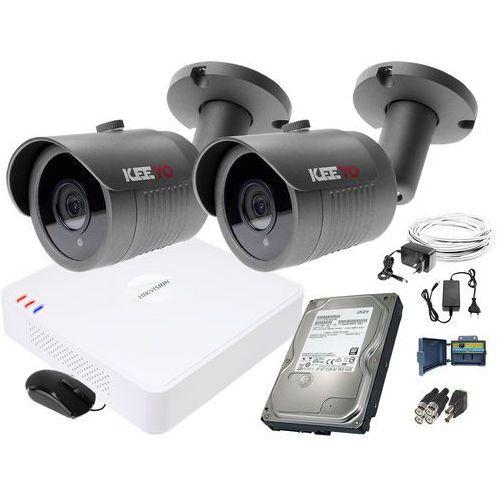 ZM11835 Zestaw do monitoringu 2 kamery IR 30m Rejestrator Hikvision FullHD Dysk 1TB, ZM11835