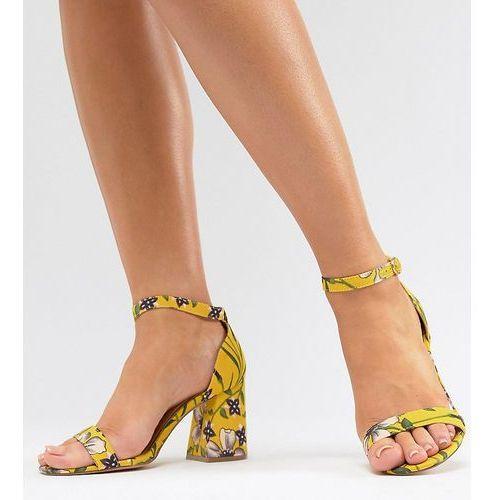 River Island Wide Fit Floral Block Heeled Sandals - Yellow, kolor żółty