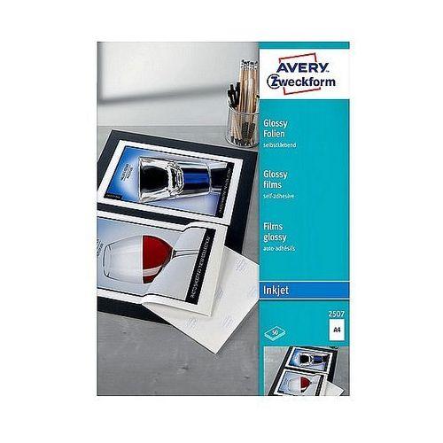 Folia samoprzylepna biała błyszcząca A4 Avery Zweckform 2507, 50ark.