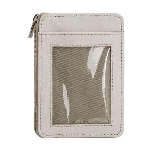 Koruma id protection Mały skórzany portfel na karty zamykany na zamek (kremowy) - kremowy, kategoria: etui i pokrowce