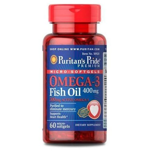 Puritan's Pride Omega-3 Fish Oil Coated 400mg - 60soft gels