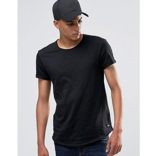 longline t-shirt with raw edges in black - black marki Esprit