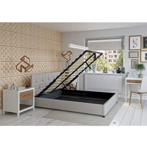 Big meble Łóżko 140x200 tapicerowane modena + pojemnik beżowe tkanina