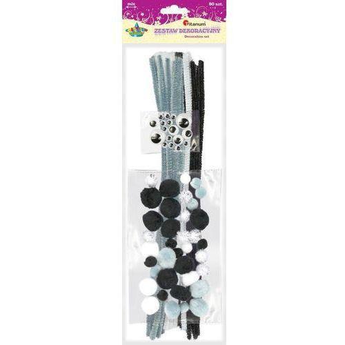 Druciki kreatywne pompony oczka 80el CRAFT-FUN - biało czarny
