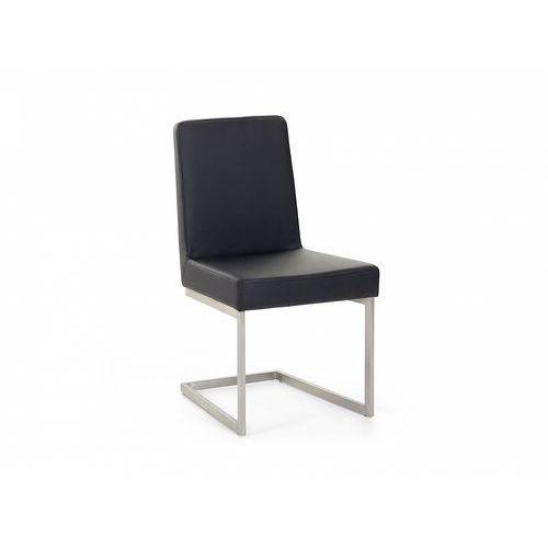 Krzesło ze stali szlachetnej - czarne - tapicerowane - do jadalni - do kuchni - ARCTIC