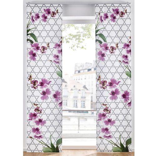 Firana panelowa w kwiaty (1 szt.) bonprix biało-lila-zielony, kolor fioletowy