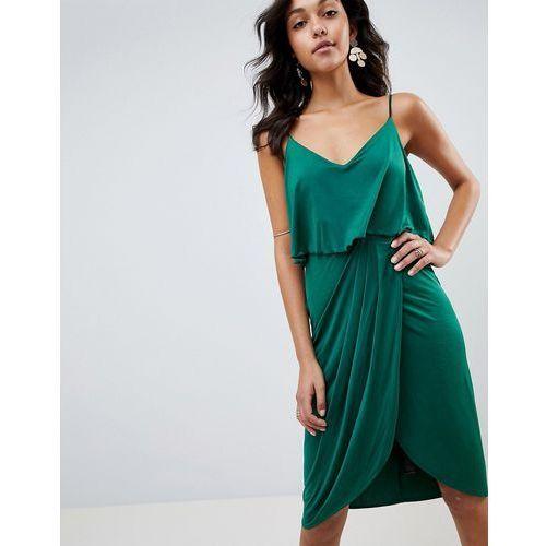 6b016c0e6e ASOS DESIGN slinky wrap midi dress - Green
