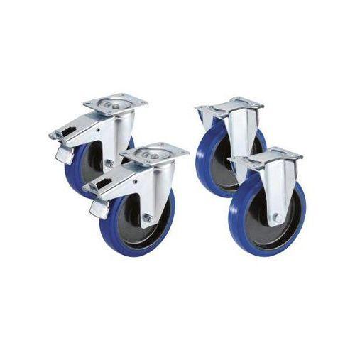 Zestaw z opon elastycznych na feldze z tworzywa, 2 rolki skrętne z podwójną blok