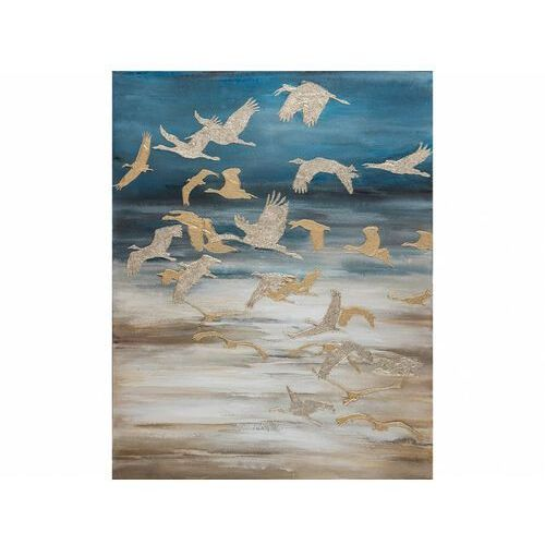 Vente-unique Obraz olejny envolee - konstrukcja z drewna sosnowego - 80x100 cm - kolor niebieski