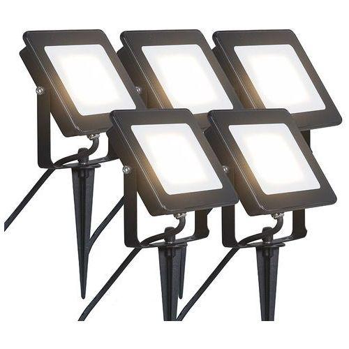 Led naswietlacz Radius 3 20W czarny z klinem ziemnym zestaw 5 sztuk