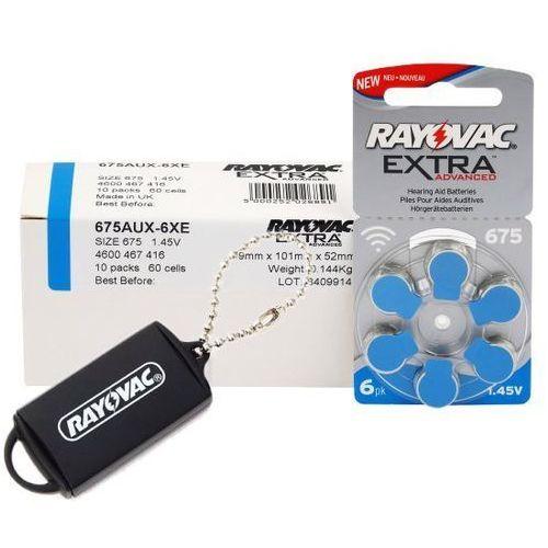 60 x baterie do aparatów słuchowych extra advanced 675 + zasobnik na baterie rayovac marki Rayovac