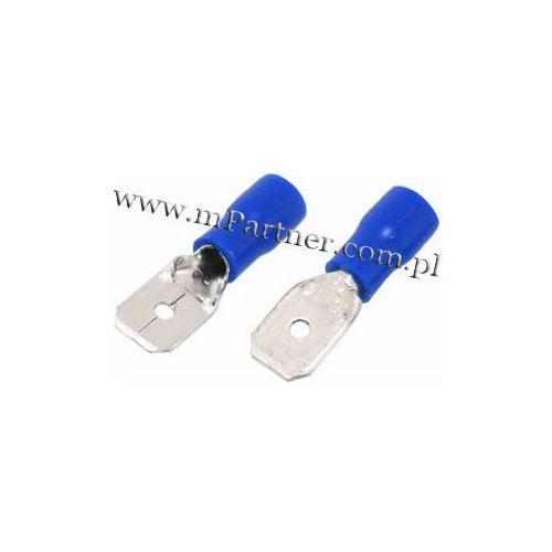 Wsuwka konektor męski 6,3 mm z osłoną do 2,5mm 100szt
