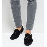 Silver street wide fit patent tassel loafers in black suede - blue