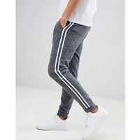 Asos design skinny joggers in charcoal interest fabric with side stripe - grey