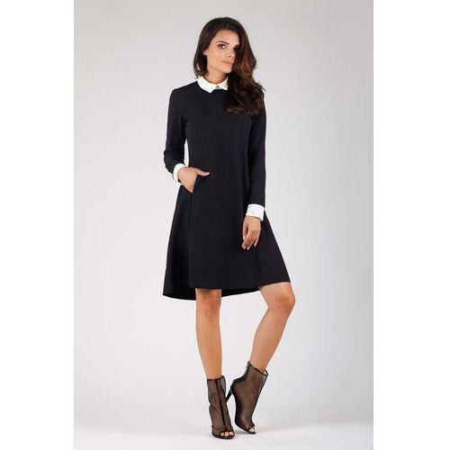 Czarna Wizytowa Sukienka Trapezowa z Białym Kołnierzykiem, kolor czarny