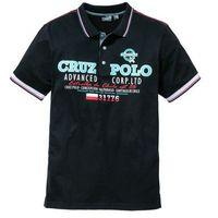 Shirt polo z nadrukiem bonprix czarny, bawełna