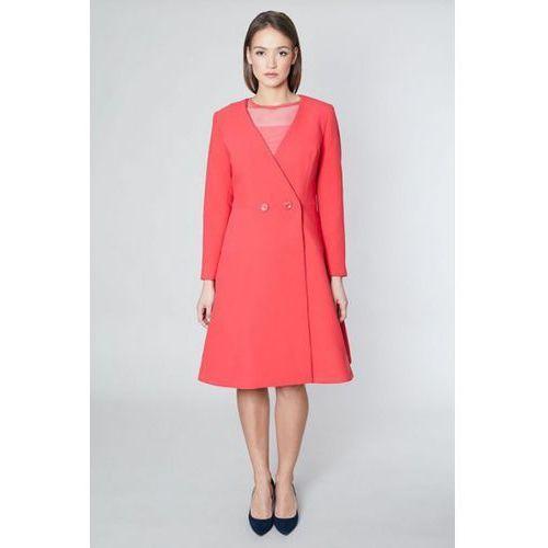 Płaszcz damski model daban 10576 coral, Click fashion