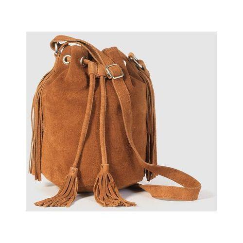 Mademoiselle r Mała torebka worek z frędzlami, z dwoiny skórzanej