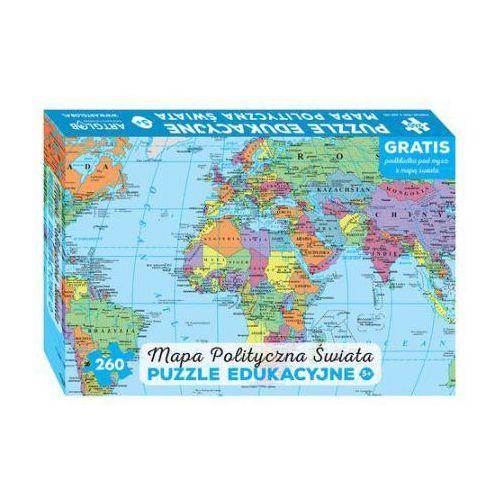 Artglob Mapa polityczna świata puzzle edukacyjne dla dzieci: wiek 5+. gratis podkładka pod mysz z mapą świata (9788363618612)