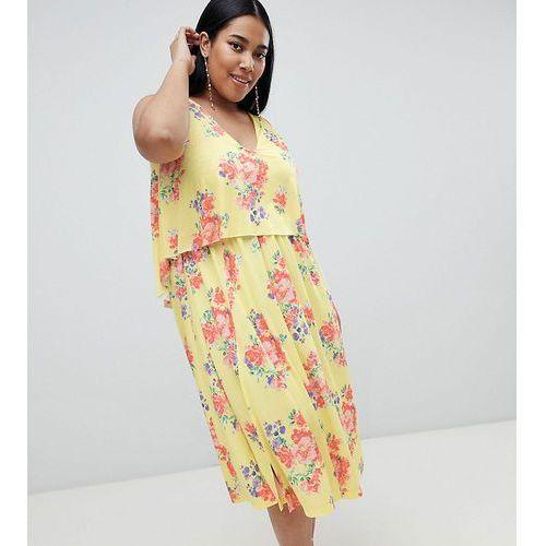 Asos design curve slinky floral cape midi dress - multi, Asos curve