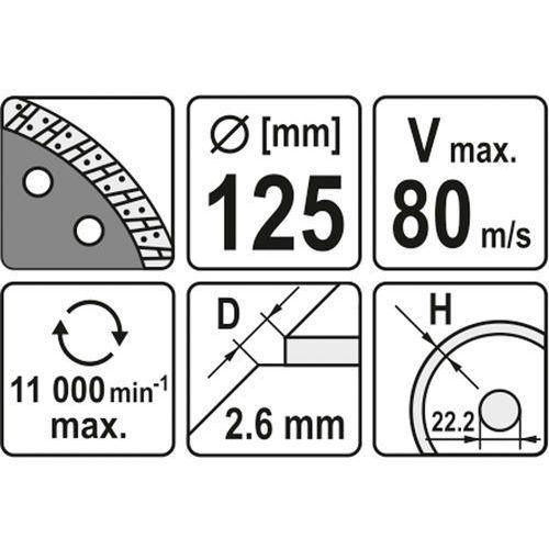 Tarcza diamentowa, segment turbo 125 mm Yato YT-6023 - ZYSKAJ RABAT 30 ZŁ, YT-6023