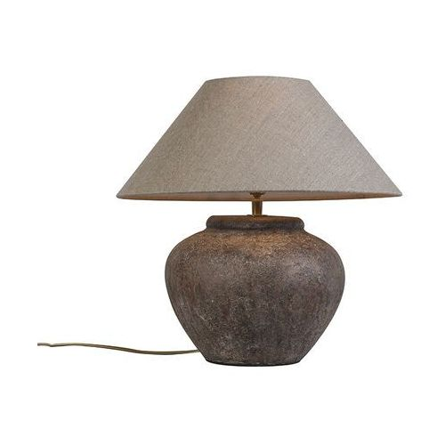 Wiejska lampa stołowa brązowa z kloszem - rocznik Palma XS